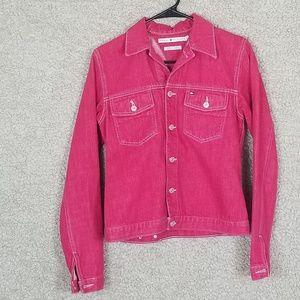 Tommy Hilfiger Pink Button Down Denim Jean Jacket